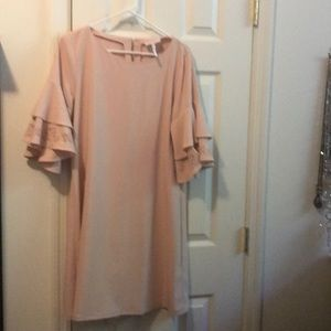 Blush colored Laundry dress with laser cut sleeves
